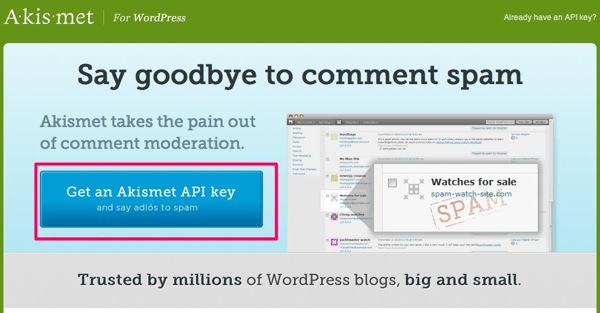 Akismet anti spam plugin for WordPress